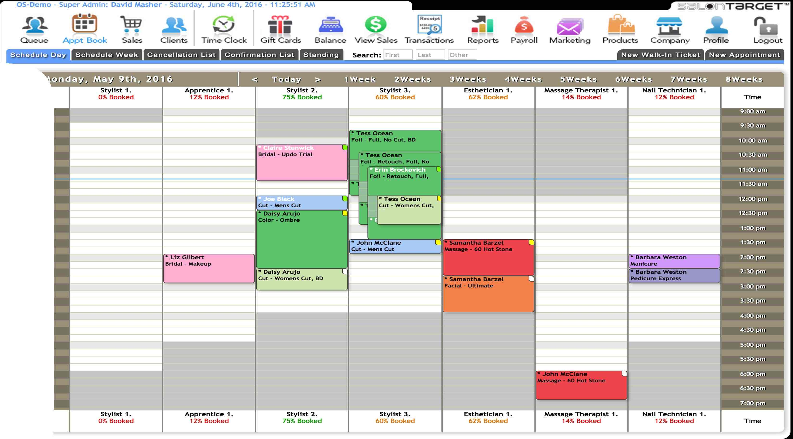 An image displaying the Layered appointments in the SalonTarget Admin